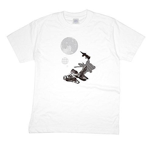 空洞一般化する引っ張る【choco-rail】 半袖 Tシャツ カットソー 金魚 月 ホワイト S,M,L,XL