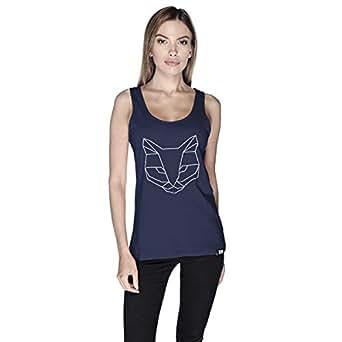 Creo Cat Animal Tank Top For Women - L, Navy