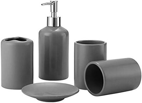 キッチン衛生陶器ストレージ、洗面化粧台セット、ファミリーホテルクラブに適しトイレとバスルームデコレーション、ソープディッシュ、カップルカップ、ブラシホルダー、ソープディスペンサー、,グレー
