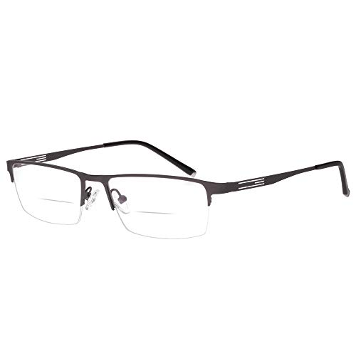 Jcerki Gray Half Frame Business Bifocals Reading Glasses 1.75 Men Women Fashion Light Bifocals Reading Eyeglasses ()