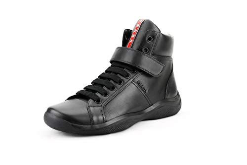 Prada Men's Vitello Plume Leather High Top Sneaker, Nero (Black) 4T2789 (9 US / 8 UK)