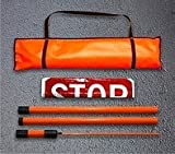 Dicke Safety Products SB183A Roll-Up''Stop/Slow'' Paddles with 3-Piece 6' Org Staff and Case, Super Bright Vinyl, 18''