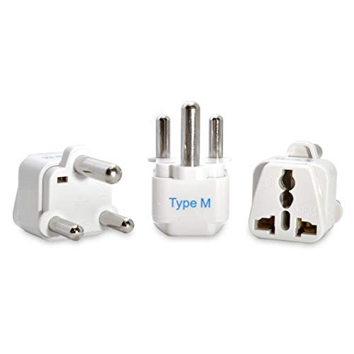 Ceptics South Africa Travel Plug Adapter (Type M) - 3 Pack [Grounded & Universal] (GP-10L-3PK)...