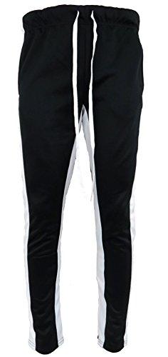 Henry & William Men's Techno Track Pants W/Ankle Zipper (Black White, L) ()