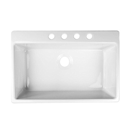 Essence Top Mount Acrylic 33x22x9 in 4-Hole Single Bowl Kitchen Sink in White