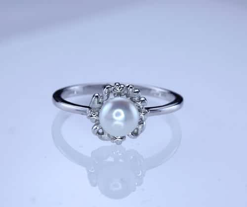 White Freshwater Pearl Ring in Sterling Silver