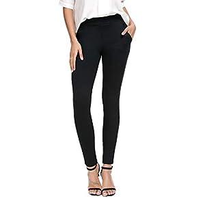 Bamans Women's Skinny Leg Work Pull on Slim Stretch Yoga Dress Pants w/Tummy Control