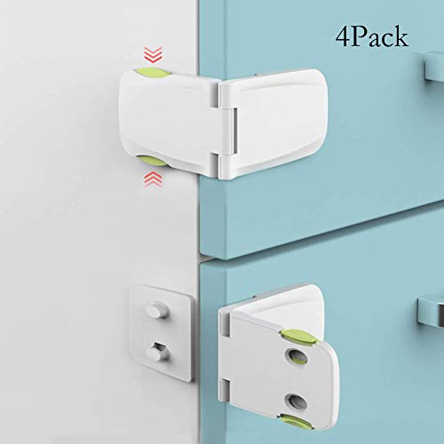 Cabinet Locks Child Safety by toohoo, Child Safety Lock, Baby Proof Drawer Locks with Flip & Snap Security, 3M Adhesive, Tight Fit Closure for Drawers, Cupboard, Cabinet, Oven, Fridge(4 Pack) ()