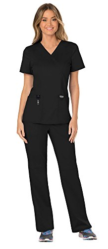Wrap V-neck Scrub Top Mock - Cherokee Workwear Revolution Women's Medical Uniforms Scrubs Set Bundle - WW610 Mock Wrap Scrub Top & WW110 Pull On Scrub Pants & MS Badge Reel (Black - Medium)