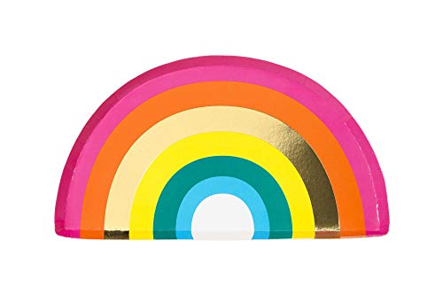 Talking Tables RAIN Happy Birthday Rainbow Shaped Plates Party Decorations, Pack of 12, Width 24cm, 9