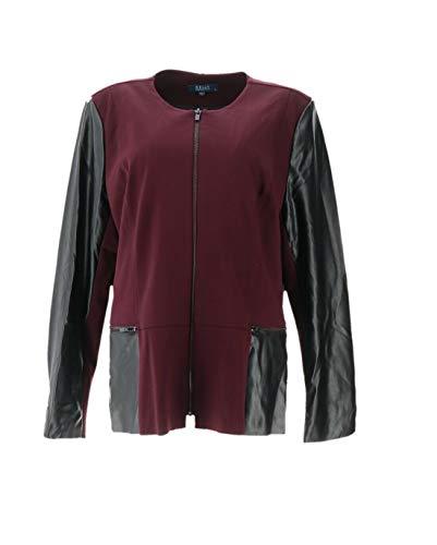 Clinton Kelly Kelly Ponte Jacket Faux Leather Wine XL New A283502