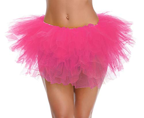 v28 Women's Teen's 1950s Vintage Tutu Tulle Petticoat Ballet Bubble Skirt (One Size, 5 Layer - Dark Pink)
