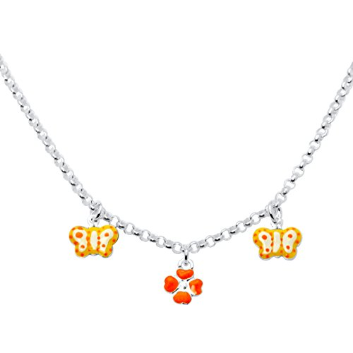 UNICORNJ Sterling Silver 925 Childrens Necklace with Enamel Orange Butterfly and Clover Charms Italy