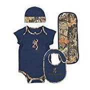 Browning Baby Camo Bib Set- Mossy Oak Country camouflage accents Navy - 12MO