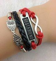 Friendship Infinity Bracelet, Red & Black, multi-strand cord bracelet, womens, girls, teen, karma, fun, leather, braid, charm, - Leather Bracelet Karma