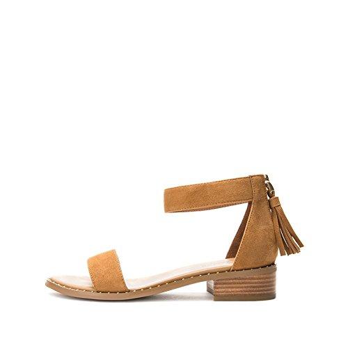 alla moda Sandali tacco basso alti Albicocca Tacchi casual Sandali tacco Sandali piatti da estivi donna a con DHG Pantofole 35 basso YZqXnv