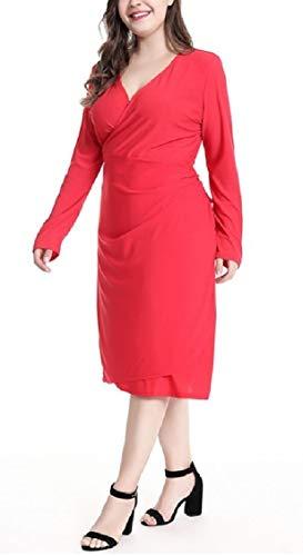 Jaycargogo Donne Più Dimensioni Elegante Scollo A V Avvolgere Vestito Da Partito Di Sera Midi A Maniche Lunghe Rossa