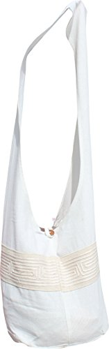 Monks Bag Cream Shoulder Yaam Grain with Line RaanPahMuang Brand Motif Cotton Chinese nZx4xEf