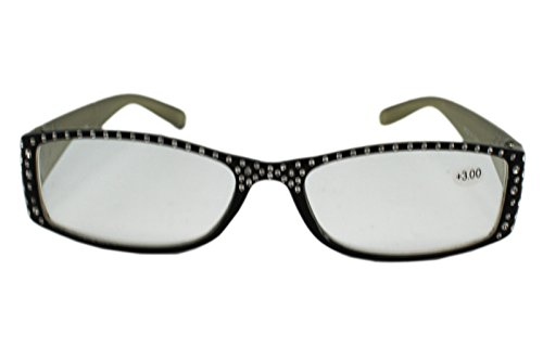 Black and Gray Frame Rhinestone Bedazzled Reading Glasses - Glasses Bedazzled