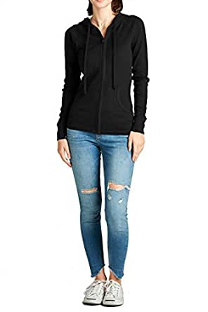 FASHION BOOMY Women's Basic Cotton Long Sleeve Zip-Up Pocket Active Lightweight Stretchy Casual Comfy Hoodie Jacket Black