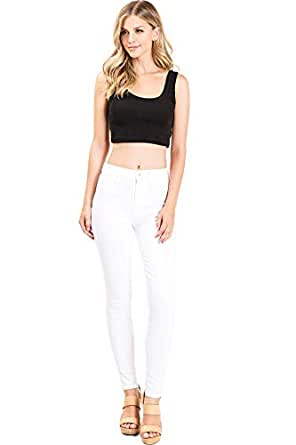 Kendall & Kylie Women's Juniors High Waist Stretchy Skinny Jeans (24, White)