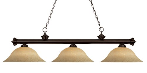 Z-Lite 200-3BRZ-GM16 Riviera Three Light Billiard, Steel Frame, Bronze Finish and Golden Mottle Shade of Glass -