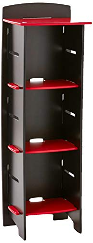 Legaré Furniture Children's Furniture 3-Tier Shelf Bookcase, Storage Organizer with Adjustable Shelves for Kids Bedroom, Red and Black