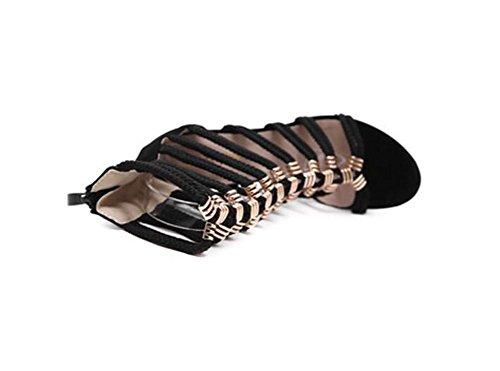Sandales à talons hauts ouverts en métal Combinaison creuses en métal de chaussures sexy creuses , black , 36