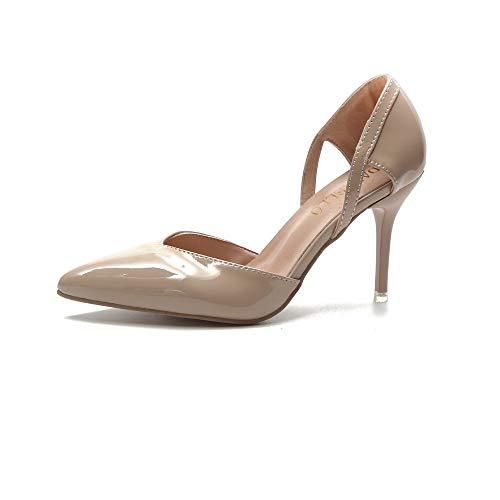 Mujer de de de Tacones nuevos Huecos Zapatos Jqdyl en de Zapatos Moda Aguja Punta EY6wfq6
