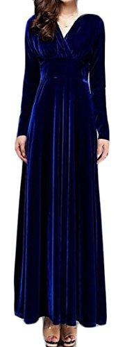 Cruiize Velvet Long Womens Neck Royal Solid Sleeve Blue Dress V Elegant Long UwrdBn80Uq