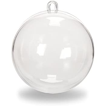Darice Clear Plastic Acrylic Fillable Christmas Ball Ornament - 80mm (Pack of 12)