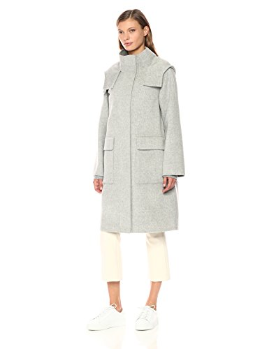 Theory Women's Duffle Coat Df Outerwear, Melange Grey, S