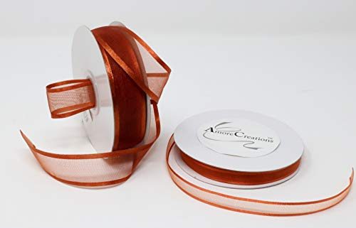 AmoreCreations 5/8 Inch x 25yds Organza Ribbon with Satin Trim for Wedding Baby Shower Gifts DIY Bows Craft Dancer Wands and More - Colors Guaranteed by AmoreCreations (Copper) -