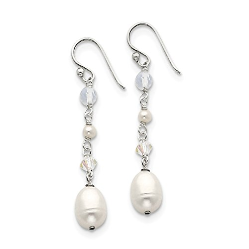 - ICE CARATS 925 Sterling Silver White Freshwater Cultured Pearl/opalite Crystal/crystal Drop Dangle Chandelier Earrings Fine Jewelry Ideal Gifts For Women Gift Set From Heart