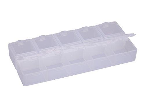 2 X Bicone (2 X Plastic Storage Case 10 slots per organizer Vitamine Container Medicine Pill Box Container Jewelry storage box spb12)