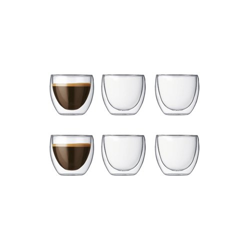 Bodum Pavina 4558-10 Gläser-Set, Doppelwandig, isoliert, 6-teiliges, 0,08L, transparent