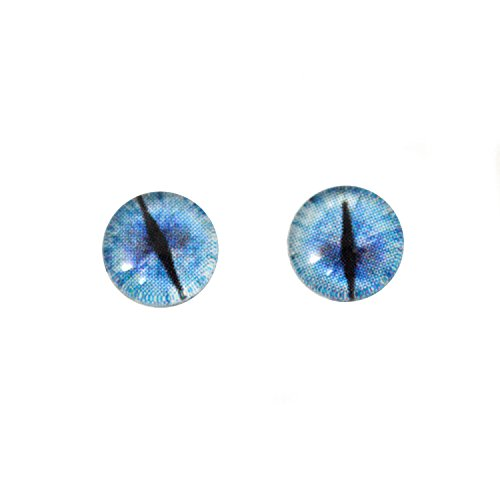 - Blue Ice Glass Dragon Eyes Fantasy Art Dolls Taxidermy Sculptures or Jewelry Making Crafts Matching Set of 2 (8mm)