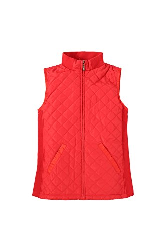 Bienzoe Women Casual Zip Quilted Sleeveless Lightweight Vest W/Stretchy Rib Red