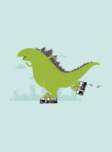 Rectangle Refrigerator Magnet - Green Dinosaur Godzilla Roller Skating on Buses Funny Humor
