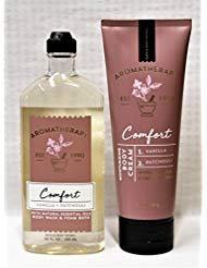 Bath Body Foam Cream - Bath & Body Works - Aromatherapy - Comfort - Vanilla & Patchouli - Bundle - Body Wash & Foam Bath 10oz. & Body Cream 8 oz