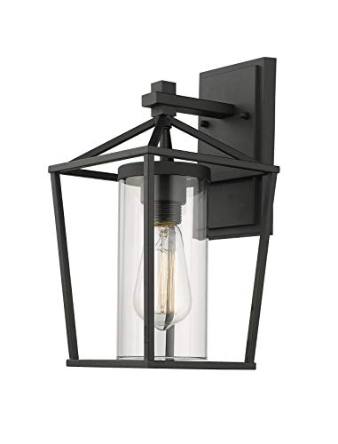 Outdoor Sconce Finish - Emliviar Exterior Wall Light, 1-Light Outdoor Wall Sconce, Black Finish with Clear Glass, 20065B1