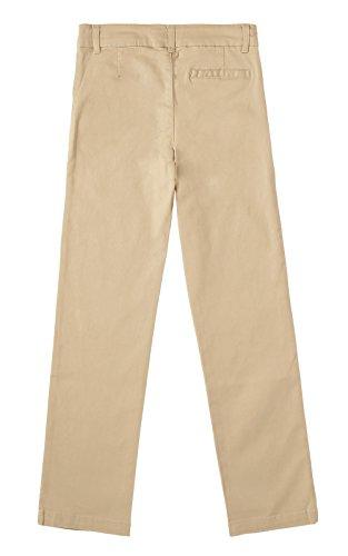 Khaki Uniform Pant (Bienzoe Big Girl's School Uniforms Cotton Stretchy Slim Flat Front Adjust Waist Pants,Khaki,14)