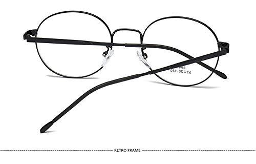 Plat léger Unisexe Boîte Noire Miroir Ultra Lunettes Monture Personnalité Montures Ronde Métal Oz68R6