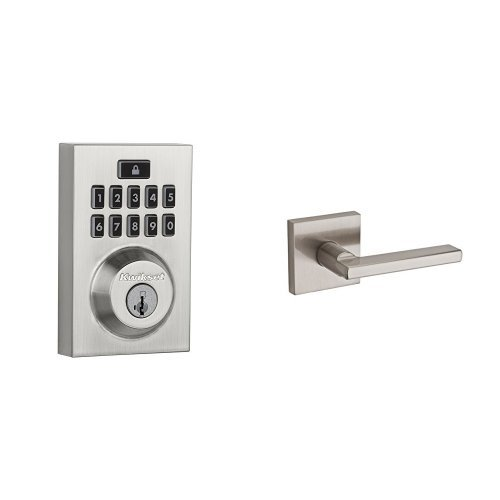 Kwikset 913 Contemporary SmartCode Electronic Deadbolt and Halifax Passage Lever Bundle, in Satin Nickel Best Selling