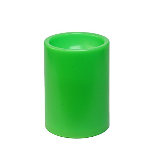 Christmas Green Outdoor Led Plastic Candle With Timer for Home Halloween Decoration, 3x4 Inches