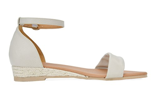 DREAM PAIRS Women's Formosa_10 Nude Low Platform Wedges Ankle Strap Sandals Size 8 B(M) US by DREAM PAIRS (Image #2)