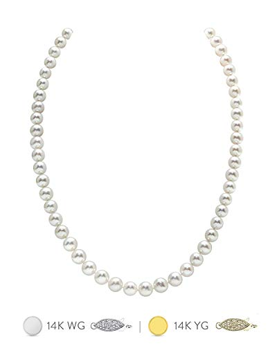 THE PEARL SOURCE 14K Gold 6.5-7.0mm AAA Quality Round White Freshwater Cultured Pearl Necklace for Women in 18
