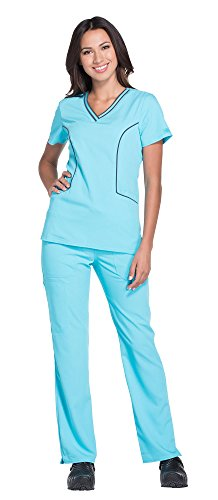 - Dickies Xtreme Stretch Women's Contrast V-Neck Top DK715 Extreme Stretch Women's Rib Waist Pant DK112 Scrub Set (ICY Turquoise - Large/Large)