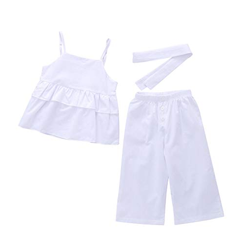 Respctful✿Toddler Baby Girl Floral Halter Ruffled Outfits Set Strap Crop Tops+Short Pants 2 Pcs Clothes Set White
