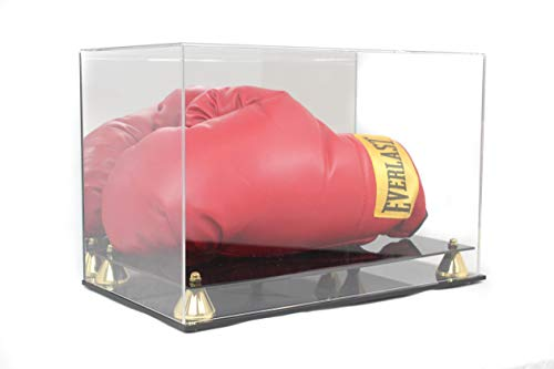 (Boxing Glove Display Case Holder Showcase, with Stands for The Gloves, UV Protection, Elegant Riser Stand (Horizontal))